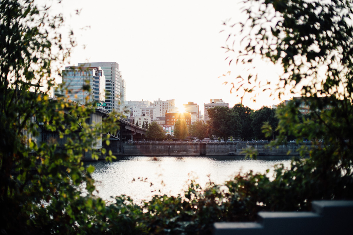 Sunset over the river in Portland, Oregon