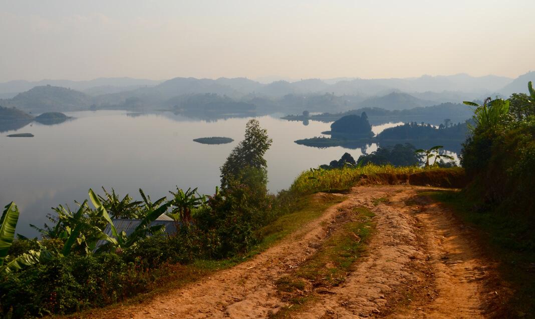 A foggy view of Lake Mutanda, Uganda