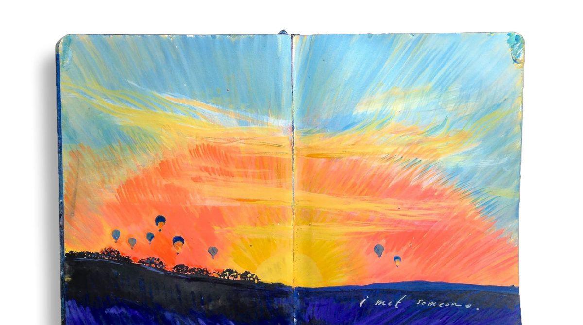 A sunrise in Cappadocia, in Missy Dunaway's travel sketchbook