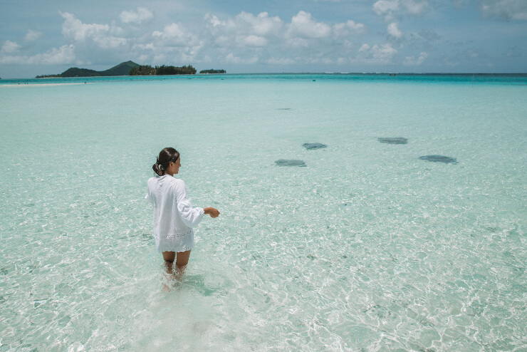 A woan stands in a shallow lagoon