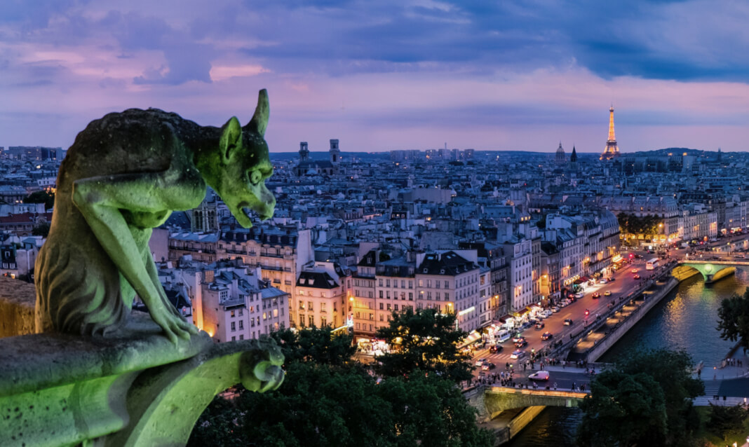 Aerial view of Paris with Notre Dame gargoyle on left