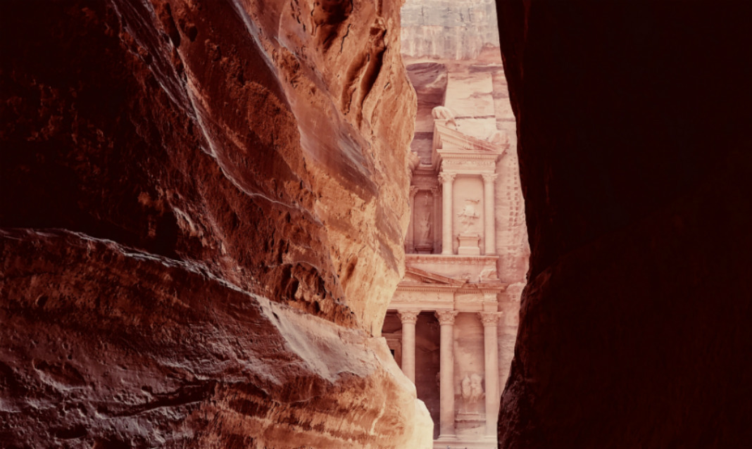 Petra, an archaeological site in Jordan, as seen from the Siq.