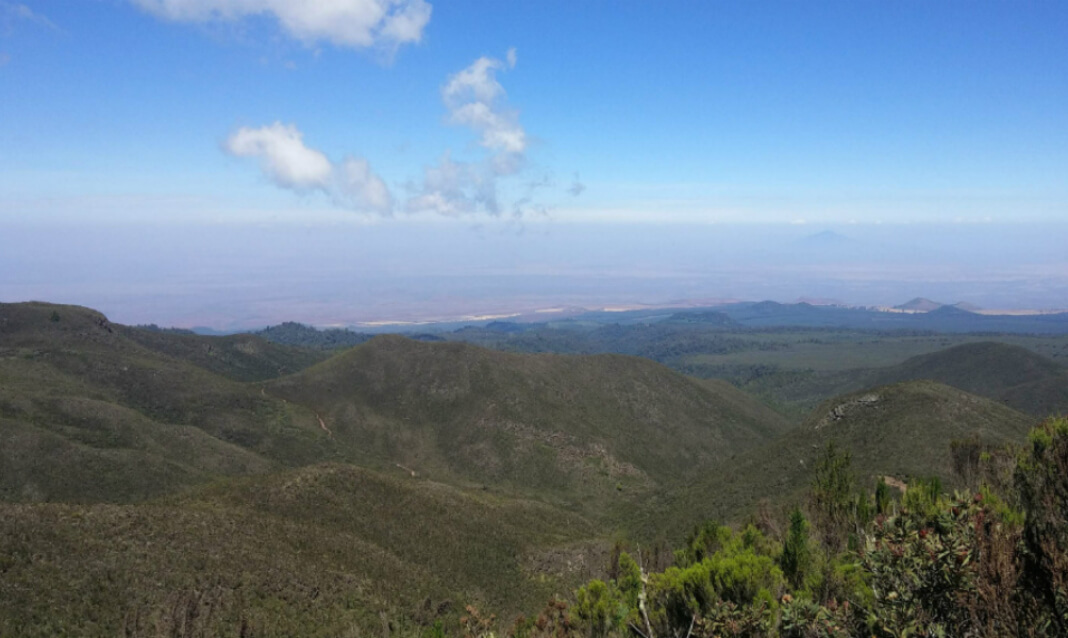 View from partway up Mount Kilimanjaro