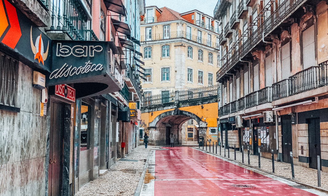 A red-painted city street