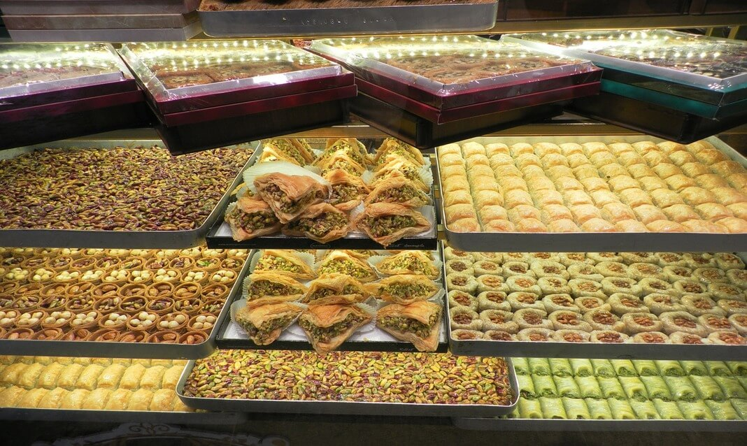 Pide and pastries on display for sale in Istanbul's Grand Bazaar.