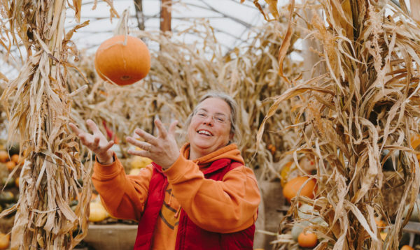 Tam Andersen poses at Prairie Gardens, her farm outside of Edmonton.