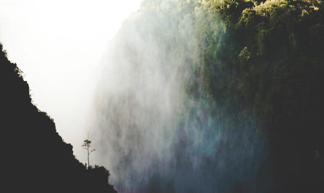 An unusual angle of Victoria Falls, Zimbabwe