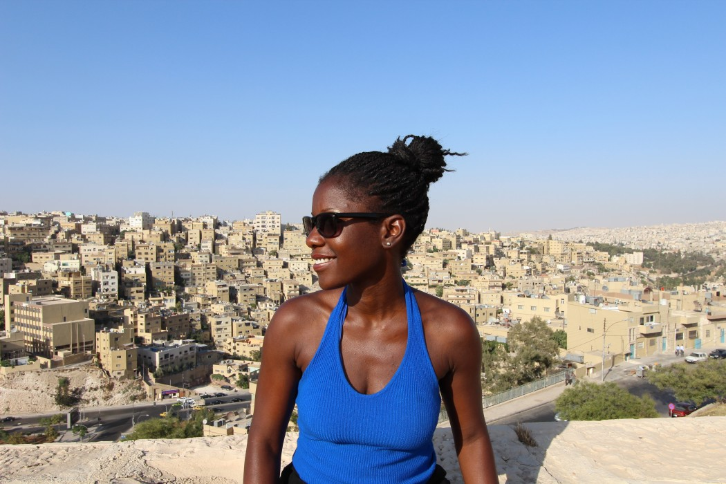 woman traveler and buildings