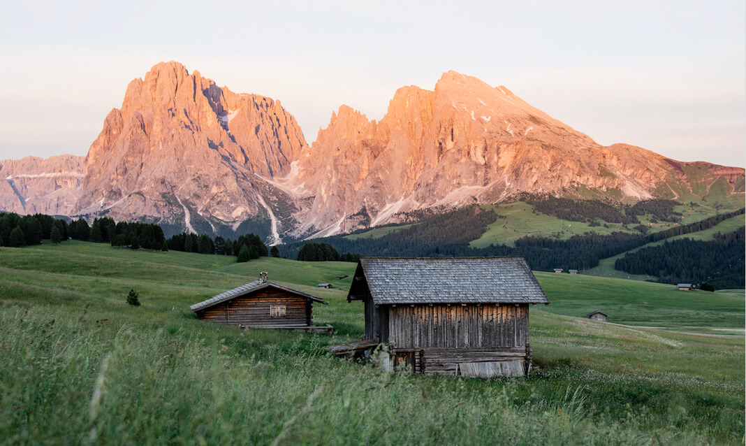 cabin in mountainous foothills