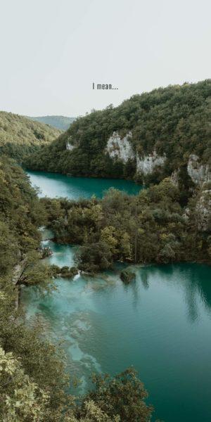 turquoise lakes among greenery