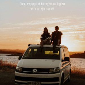 couple sitting on van at sunset