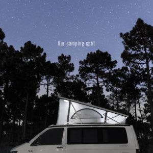camper van on starry night