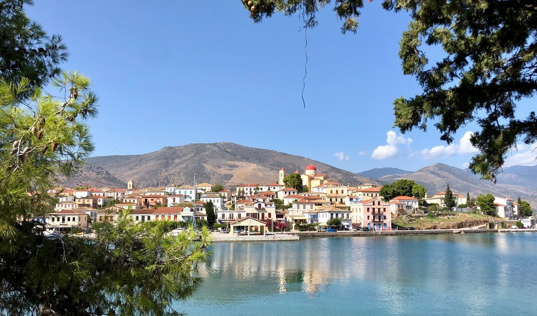 view of galaxidi greece from across bay
