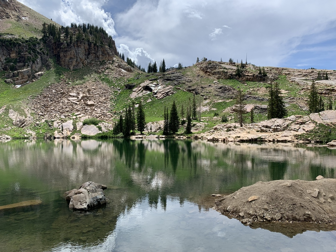 cloudy mountain scape behind a lake