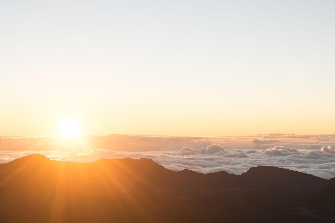sunrise over mountain clouds